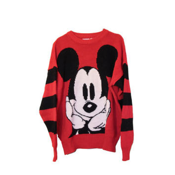 Vintage Mickey Mouse Striped Knit Sweater Disney