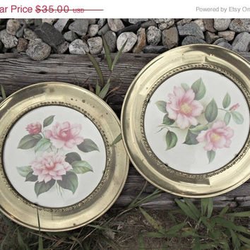 BIG SALE Vintage Botanical Art English Cottage Rose Pink Brass Plates Wall Decor Mid Century