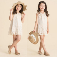EMS/DHL/FEDEX/UPS Free Fast Shipping 2015 Girls Pearl Collar Lace Dresses Fashion Princess Dress Beige Embroidered Dresses Kids Summer Dress