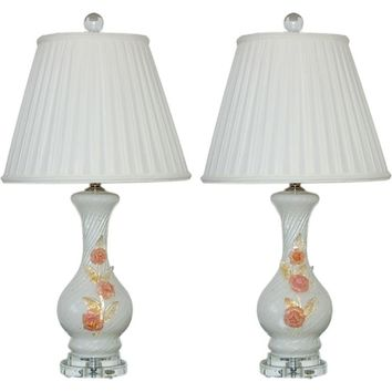 Vintage Murano Lamps with Applied Glass Roses in Vanilla
