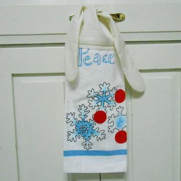 Kitchen Hand Towel,Peace,  Hanging Towel, Tie On Towel, Snowflakes, Dish Towel, Tea Towel, Christmas Towel, Christmas, Holiday Towel