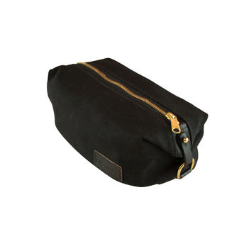 Waxed Canvas Dopp Kit- Black