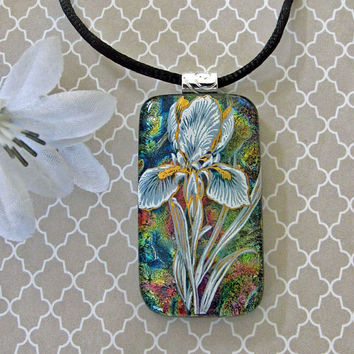 Iris Garden Fused Dichroic Glass Pendant -Flower Pendant, Colorful Fused Glass Floral Necklace - Dichroic Jewelry - 115-15