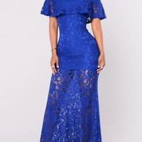 Royal Blue Floral Lace Draped Ruffle Off Shoulder Backless Homecoming Party Maxi Dress