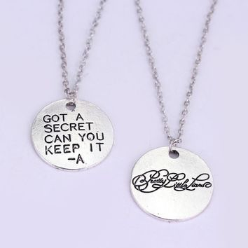 Silver Tone Hand Stamped Pretty Little Liars Got A Secret Can You Keep It Message Pendant Necklace Couple Necklaces