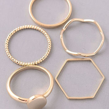 Crosstown Gold Midi Ring Set