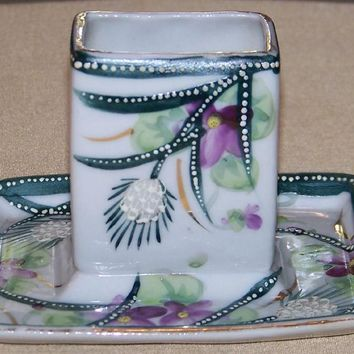Beaded and Enameled Match Box Stand with Ashtray