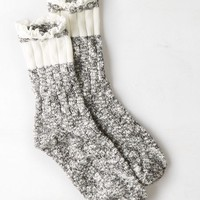 AEO Women's Marled Lace Trim Sock (Charcoal)