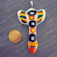 Fused Glass - Tribal - Arrow - Pendant - Red - Yellow - Black and white - Necklace - Fused Glass Jewelry - Aztec - Jewelry - Made in Canada
