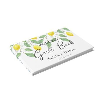 Modern Boho Watercolor Lemon Summer Wedding Guest Book
