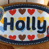 Kids Wall Art Pretty Hearts Name Plaque