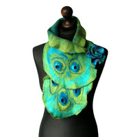 Felted collar felted scarf green turquoise petrol felt spring boho collar with felted flower brooch OOAK