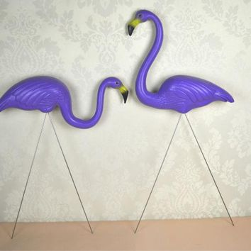 1 pair plastic purple flamingo garden,yard and lawn art ornament wedding ceremony decoration with 31 inch height