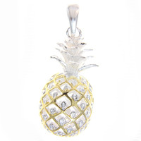 STERLING SILVER 925 EXTRA LARGE HAWAIIAN 3D PINEAPPLE PENDANT 2 TONE YELLOW GOLD