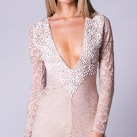 OFRAH LACE DRESS IN NUDE WITH WHITE