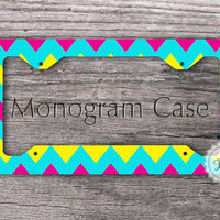Bright license plate Frame - Neon hot pink, Tiffany blue and yellow chevron monogrammed metal car tag - 037