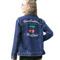 Denim Jacket with Cherry Embroidery