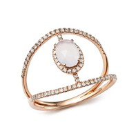 Meira T 14K Rose Gold Chalcedony Cage Ring with Diamonds | Bloomingdales's