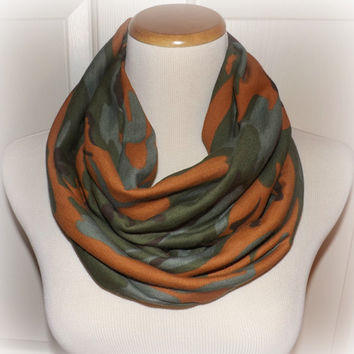 Orange Brown & Green Camo Medium Weight Jersey Knit Infinity Scarf Camouflage Fashion Hunting Duck Dynasty  Women's Accessories