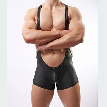High quantity faux leather underwear for men male nylon Long Johns clothing man teddies bodysuits