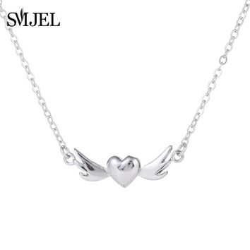 SMJEL Silver Angel Wing Heart Necklace for Women Retro Peach Heart Statement Necklaces Loving Teen Gift Nurse Cosplay SYXL107