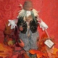 Interior Fall Home Decor  - 16-Inch Standing Fabric and Wood Flowerpot Hat Scarecrow