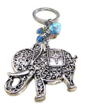 Large Silver Elephant Charm/Keyring, Good Luck Charm, Blue Heart Keyring, Lucky Keyring, Elephant Keychain, Elephant Bag Charm, Travel Gift