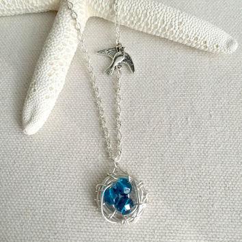 Bird Nest Necklace - Three Blue Eggs - Sparrow Charm - Wire Wrapped Nest - Silver Nest Pendant - Mother's Day Gift - Mom Jewelry