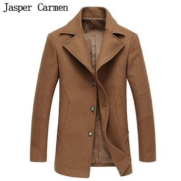 Free shipping 2017 New Fashion Stylish Shoulder Mark Single Breasted Mens Wool Coats & Men Trench Coat Size M-3XL 175