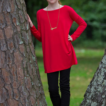 The Perfect Kids Long Sleeve Piko-Red