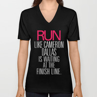 Run like Cameron Dallas is waiting at the Finish line V-neck T-shirt by RexLambo