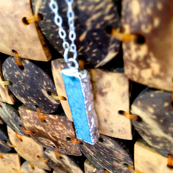 Sterling Silver Turquoise Bar Necklace - Sterling Silver Dipped - Feminine Dainty Jewelry - Gifts for Her