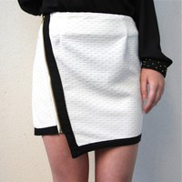 CONTRASTING RUNWAY BLACK WHITE ASYMMETRIC ZIP MOTORBIKER TUBE SKIRT 6 8 10 12