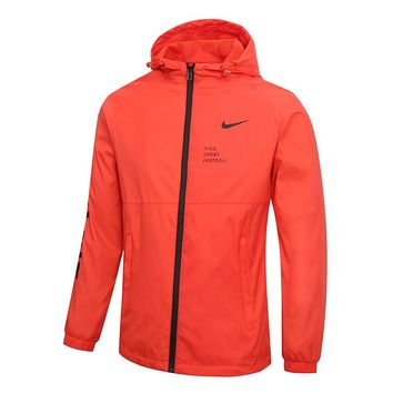 """NIKE"" Fashionable Men Women Casual Print Hoodie Zipper Cardigan Jacket Coat Windbreaker Orange Red"