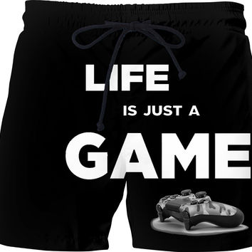 Life is just a game! Gamer black swim shorts design, geek pants, nerd clothing, camo gamepad