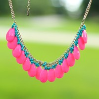 Drops of Dew Necklace in Pink