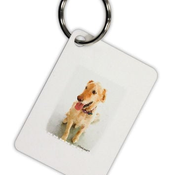 Golden Retriever Watercolor Aluminum Keyring Tag