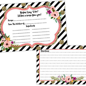 Pink Floral Wedding Gift - Black Gold Glitter Bridal Shower - Bridal Shower Games Gift - Recipe Cards for Bride - Wedding Couple Gift Set