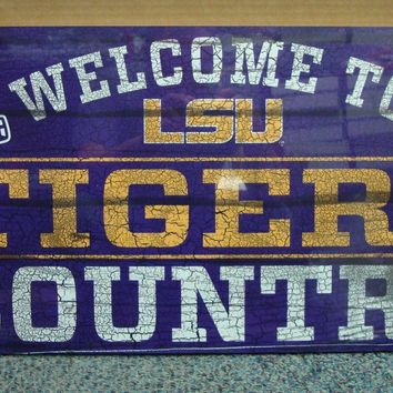 "LSU TIGERS WELCOME TO TIGERS COUNTRY WOOD SIGN 13""X24'' NEW WINCRAFT"