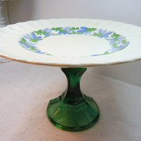 Spode CupCake Stand / Royal Jasmine Valencia / blue leaves green grapes / Centerpiece / green glass / Upcycled / Wedding decor / Brunch gift