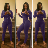 Purple V-Neck Button Down Jumpsuit