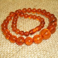 Very Nice Vintage Genuine Baltic Egg Yolk Amber Round Beads Necklace 26 gram! 91