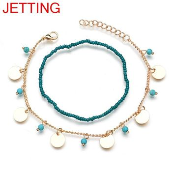 JETTING Vintage Antique Silver Color Anklet Women Blue Seed Beads Bohemian Ankle Bracelet cheville Boho Foot Jewelry