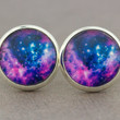 Galaxy Studs : Blue, White and Fuchsia, Space, Earrings, Fake Plugs, Beach, Summer, ArtisanTree, Stars, Constellation