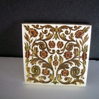 Vintage Powder Compact Elgin American Square Floral Design 1950s Mid Century Made In U S A