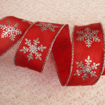 "5 YARDS,  Decorative Ribbon, 1 1/2"" wide, White with Metallic Red Design,wired-edge,Christmas,Bows,Wreaths,Gift Baskets, Floral Arrangements"