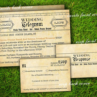 Double Sided Printable - Vintage Rustic Retro Old Fashioned Wedding Telegram Invitation Cards Suite