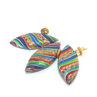 Colorful leaf shaped beads for Jewelry Making, 3 Polymer Clay beads in rainbow colors, unique stripes beads with touches of gold