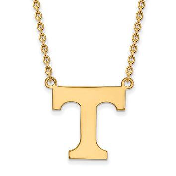 NCAA 14k Gold Plated Silver U of Tennessee Large 'T' Pendant Necklace