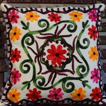 Suzani Work Cushion Cover, Outdoor Cushions, Pom Pom Pillow Cover, Lace Cushions, Indian Cotton Fabric, White Cushion, Floral Pattern